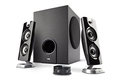 computer speakers and a subwoofer